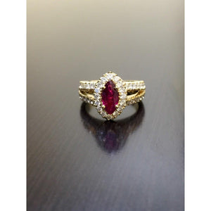 Marquise Shaped Red AAA Ruby And Diamond Wedding Ring Yellow Gold 14K Gemstone Ring
