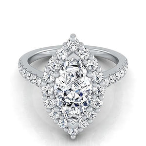 Marquise With Round Cut Diamonds 2.50 Carats Ring Gold White 14K Ring