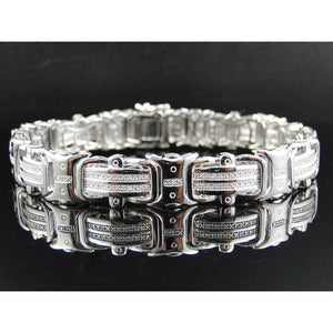 Men Diamond Fine Bracelet 12 Carats White Gold 14K Jewelry Mens Bracelet