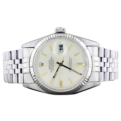 Men Rolex Datejust Watch Silver Dial Fluted Bezel Ss Bracelet Rolex