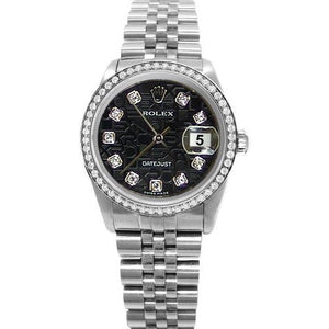 Men Rolex Datejust Watch Ss Black Jubilee Diamond Dial Rolex