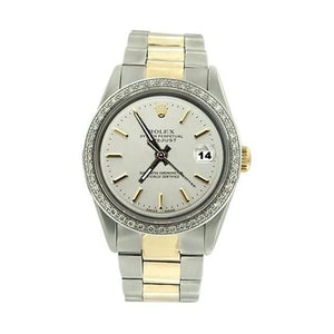 Men Rolex Datejust Watch  White Stick Dial Perpetual Ss & Gold Rolex