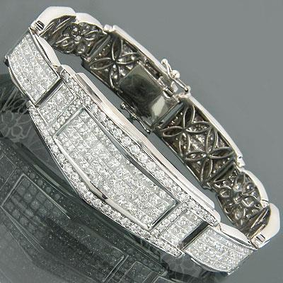 Mens Bracelet Wg 14K 15.50 Carats Princess And Round Cut Diamonds Mens Bracelet