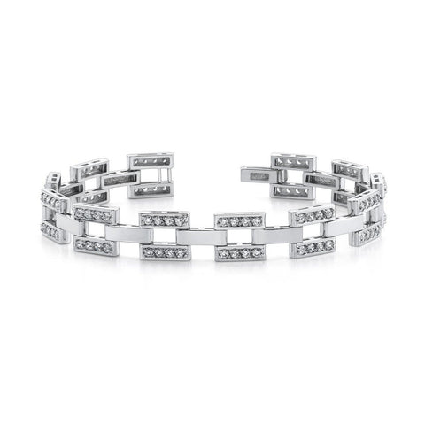 Mens Checkerboard Bracelet 9.50 Ct Round Cut Diamonds White Gold 14K Mens Bracelet