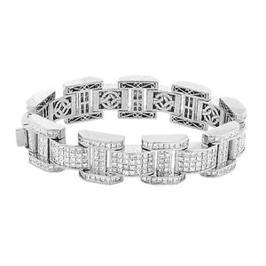 Mens Princess Cut Diamond Bracelet White Gold 20 Carats Tennis Bracelet