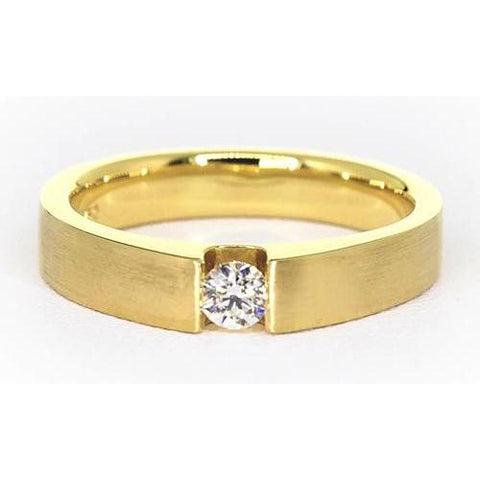 Men'S Ring Yellow Gold 14K 0.75 Carats Tension Set Mens Ring