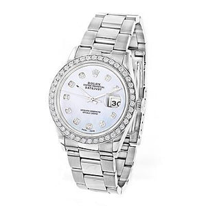 Mens Rolex Datejust 36Mm Watch Diamond Bezel Stainless Steel Watch Bezel