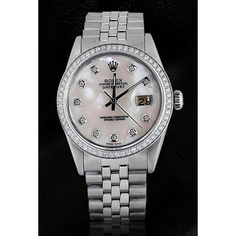 Mop Diamond Dial Bezel Rolex Date Just Men Watch Ss Rolex