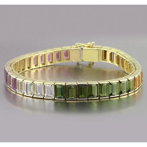 Multi Color Sapphire Emerald Cut Bracelet 40 Carats Yellow Gold Jewelry Gemstone Bracelet