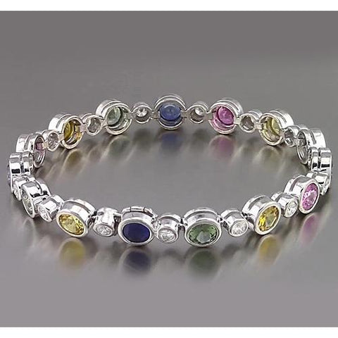 Multi Color Sapphire Tennis Bracelet Bezel Set 22.50 Carats White Gold Women Jewelry Gemstone Bracelet