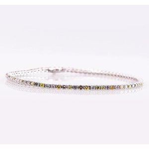 Multi Colored Sapphire Tennis Bracelet Prong Set 2.31 Carats Jewelry New Gemstone Bracelet
