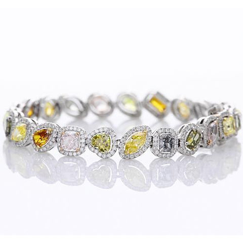 Multi Shaped Multi Colored Sapphire Tennis Bracelet 28.60 Carats White Gold Jewelry 14K Gemstone Bracelet