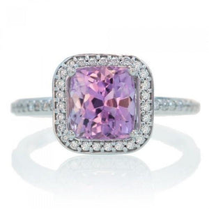 Natural Pink Kunzite With Diamond Ring Lady Men Jewelry Gold 20 Ct Gemstone Ring