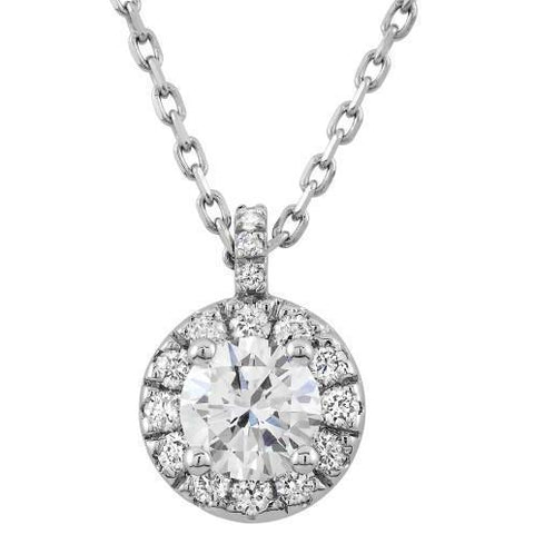Necklace Pendant With Chain 1.60 Carats Round Cut Diamonds White Gold 14K Pendant