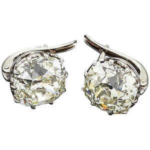 Old Miner Cut 4 Carats H Vs1 Diamond Stud Earring White Gold 14K Stud Earrings