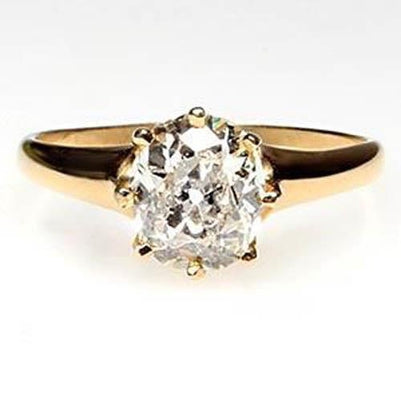 Old Miner Old Mine Diamond Wedding Ring Yellow Gold 14K 3 Carats Anniversary Ring