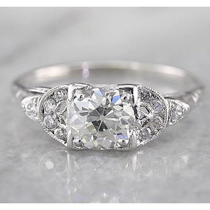 Old Miner Round Diamond Ring F Vs1 Vvs1 White Gold 14K 1.50 Carats Engagement Ring