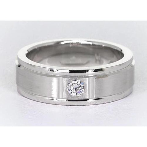 One Round Diamond Band 0.25 Carats White Gold 14K Brushed Finish Men'S Ring Mens Ring