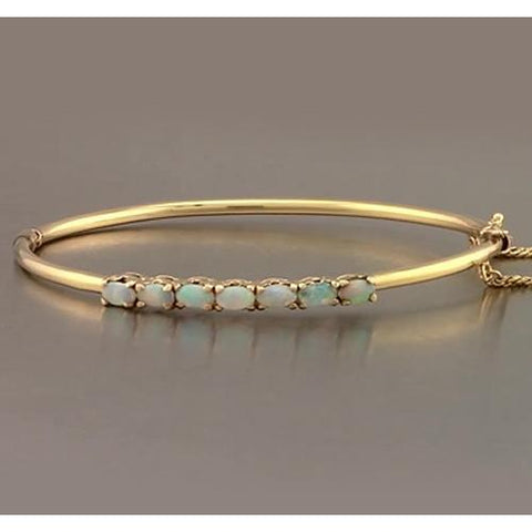 Opal Bangle 5.25 Carats Yellow Gold Women Jewelry New Gemstone Bracelet