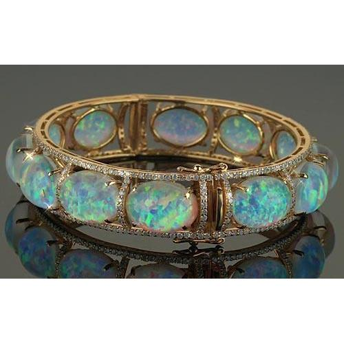 Opal Diamond Bracelet Prong Set 89 Carats Bracelet Women Gemstone Bracelet