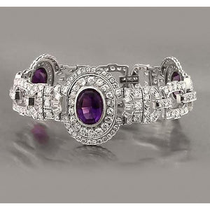 Oval Amethyst And Diamond Bracelet 30 Carats White Gold 14K New Tennis Bracelet