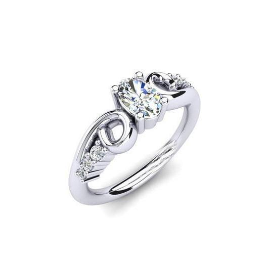 Oval And Round Cut 1.50 Carats Diamond Engagement Ring White Gold 14K Engagement Ring
