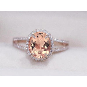 Oval And Round Cut 19.75 Ct Morganite With Diamonds Ring Rose Gold Gemstone Ring