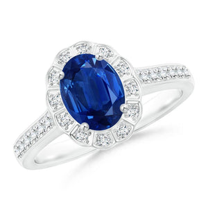Oval And Round Cut 4.20 Ct Sapphire And Diamonds Ring White Gold 14K Gemstone Ring