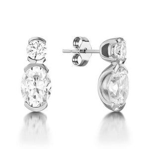 Oval And Round Cut Diamond Drop Earring 2.50 Carats Solid White Gold Women Jewelry Drop Earrings