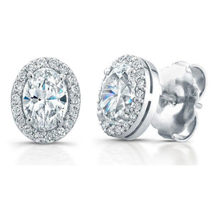 Oval And Round Halo Diamond Stud Earrings 3.90 Carats White Gold 14K Halo Stud Earrings