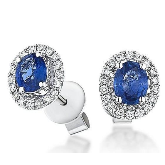 Oval Cut Ceylon Blue Sapphire And Diamonds Women Studs Halo Earring 4.80 Ct Gemstone Earring