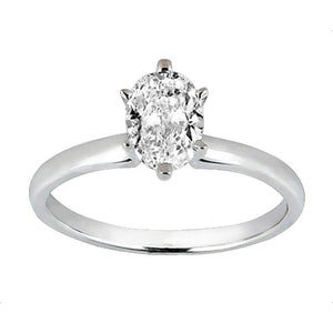 Oval Cut Diamond Solitaire Ladies Ring Solid White Gold 14K New 1.01 Carat Solitaire Ring