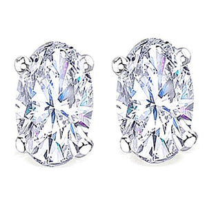 Oval Cut Diamond Studs Earring 2 Carats G Si1 White Gold Stud Earrings