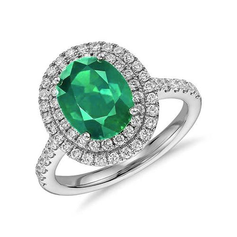 Oval Cut Emerald With Round Diamonds 4.35 Carats Ring 14K Gold White Ring