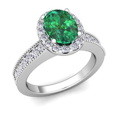 Oval Cut Emerald With Round Diamonds 4.75 Carats Ring 14K White Gold Gemstone Ring