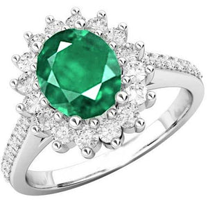 Oval Cut Emerald With Round Diamonds 4.75 Carats Wedding Ring Gold Gemstone Ring