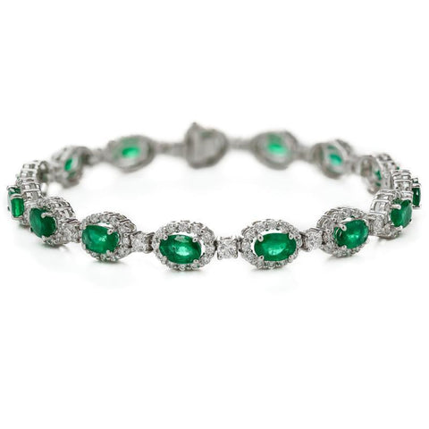 Oval Cut Green Emerald With Diamond Women Tennis Bracelet  14K 8.5 Carats Gemstone Bracelet