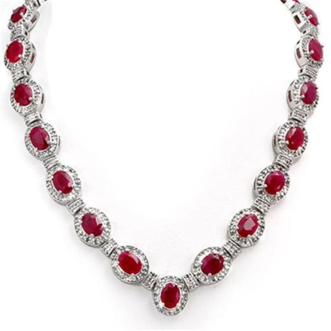 Oval Cut Ruby And Round Diamonds 35.50 Carats Lady Necklace Gold 14K Gemstone Necklace