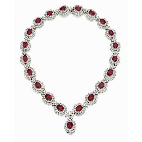 Oval Cut Ruby With Round Diamonds 53 Ct. Lady Necklace White Gold Gemstone Necklace