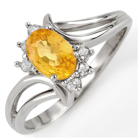 Oval Cut Yellow Sapphire And Round Diamonds Wedding Ring Gold 14K Gemstone Ring