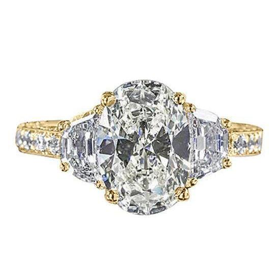 Oval Diamond Engagement Ring 3 Stone Style Yellow Gold 4.51 Carats Three Stone Ring