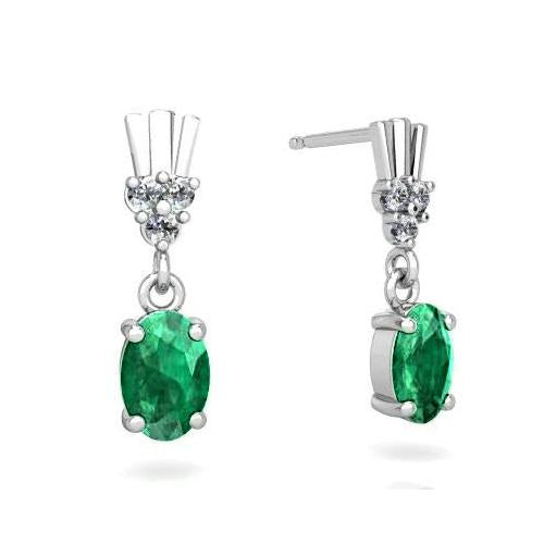 Oval Emerald With Round Diamonds 6.30 Ct. Dangle Earrings 14K White Gemstone Earring