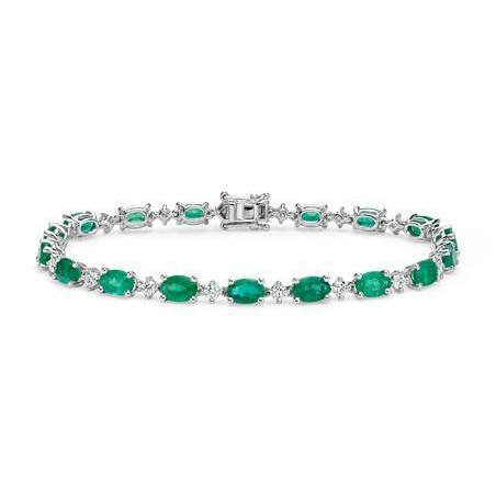 Oval Shape Green Emerald And Round Diamond Tennis Bracelet White Gold 14K Gemstone Bracelet