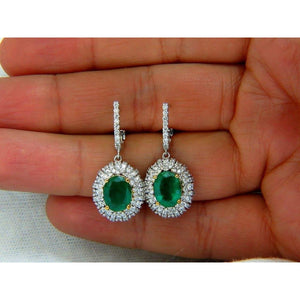 Oval Shaped Green Emerald With Diamond Dangle Earring 5.5 Carats Gemstone Earring