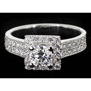 Pave Setting 3 Carats Round Diamond Engagement Ring White Gold 14K Engagement Ring