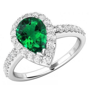 Pear And Round Cut 4.00 Ct Emerald And Diamonds Halo Gemstone Ring White Gold 14K Gemstone Ring
