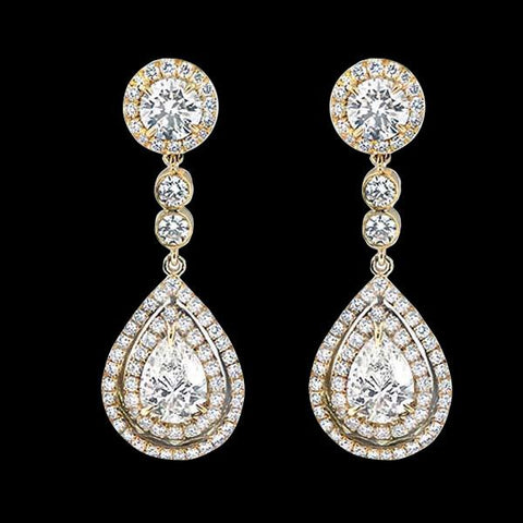 Pear Cut Diamonds 7 Carats Chandelier Earring Yellow Gold Diamond Earring Chandelier Earring