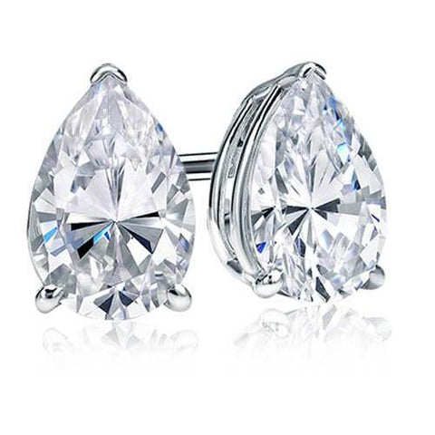 Pear Cut Solitaire 4 Ct Diamond Stud Earrings White Gold Lady Jewelry Stud Earrings