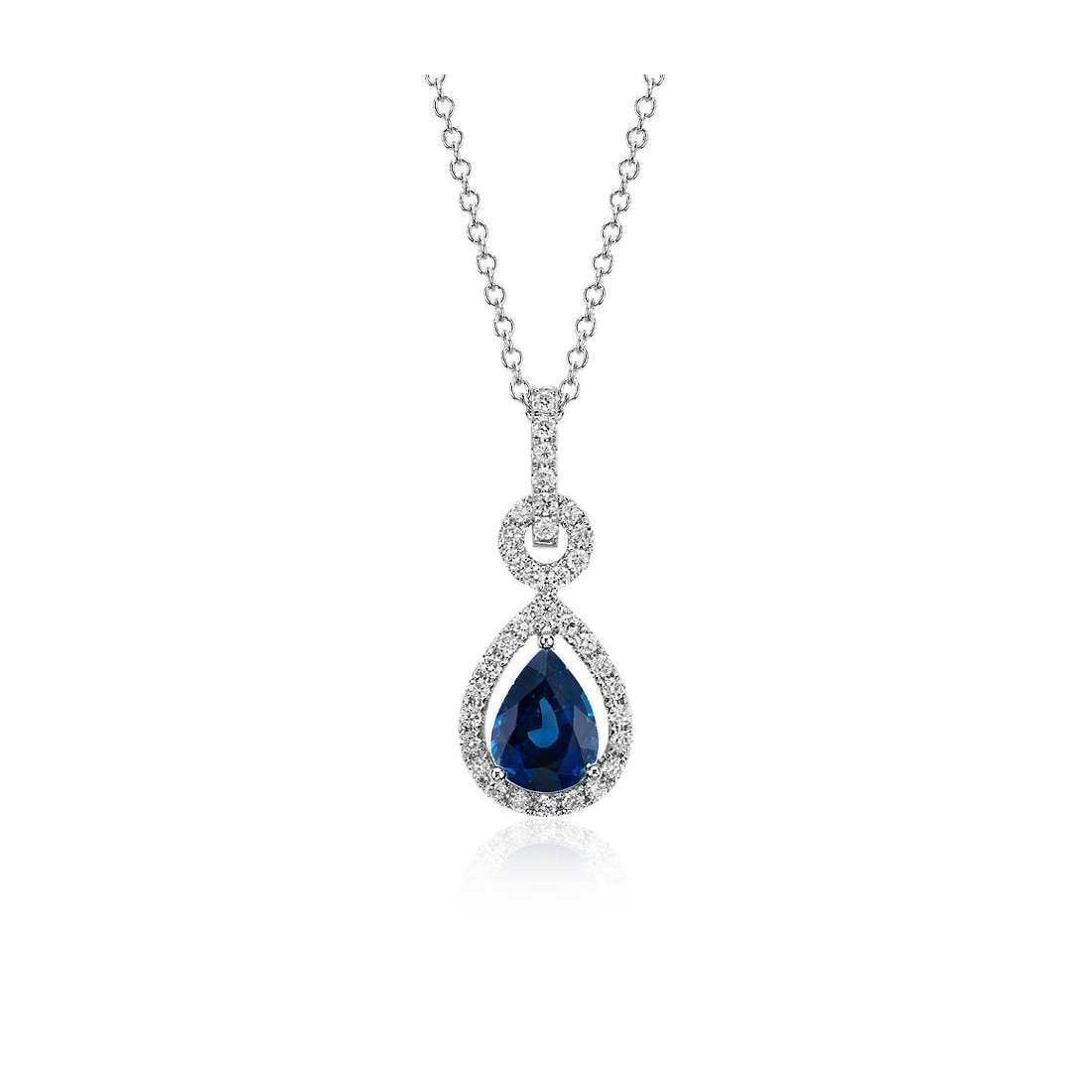 Pear Cut Sri Lankan Sapphire Diamonds 3.25 Ct Pendant Necklace Gemstone Pendant