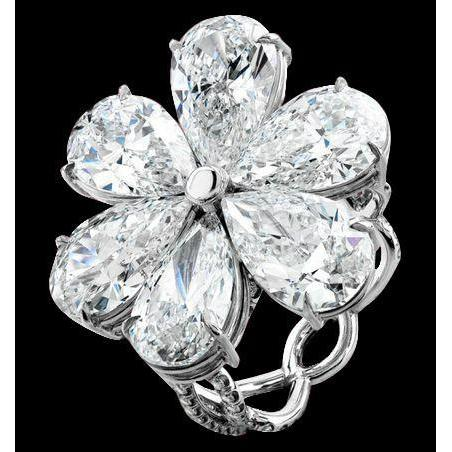 Pear Diamonds 5 Carat Engagement Ring White Gold Flower Shape Ring New Engagement Ring